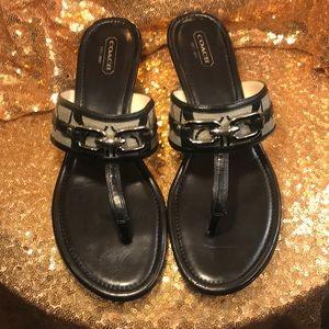 Coach Virginia Thong Wedge Sandals Shoes CC Logo